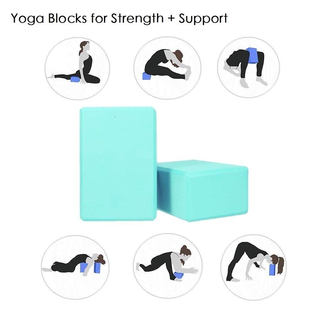 Danse et Gym D/ébutants et Professionnels MOREFUN Lot de 2 Bloc De Yoga et 1 Ceinture De Yoga Pilates EVA Confortable Briques Cotom Sangle pour Le Yoga