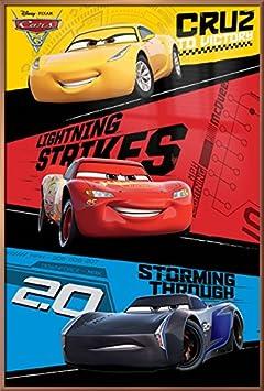 Cars 3 – Framed Pixar Disney Movie Poster Print Trio – Lightning McQueen, Jackson Storm, Cruz Ramirez