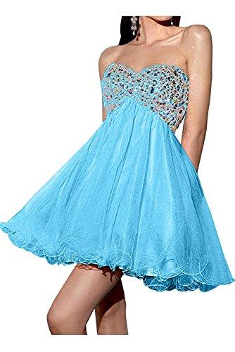 Abendkleider Damen Abiballkleider Kurz Steine Cocktailkleider Mini La Weiss Blau Tanzenkleider Braut Marie EwvqYg