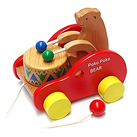 Bear Knock the Drum Wooden Push and Pull Toys for Toddlers Kids