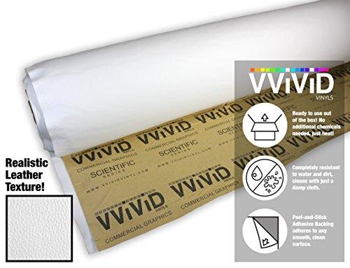 Vinyl Leather Sheet - VViViD White Adhesive Weatherproof Faux Leather Marine Vinyl (1ft x 54