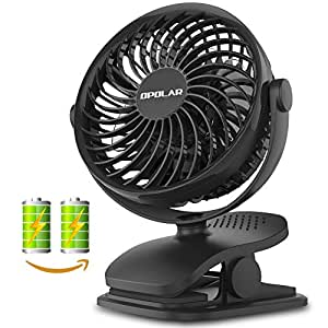 OPOLAR Battery Operated Fan, Clip on and Desk Fan, Portable Fan with 4 Speeds, Rechargeable, 360° Rotation, 2200mAh Battery(Included Two), Powerful Wind for Baby Stroller,Outdoor Activity, Office