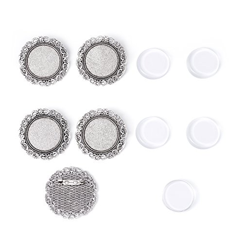 Pandahall 5Sets 25mm Iron Brooch Making Transparent Clear Domed Magnifying Glass Cabochon Circle Cover Bezel Setting for Women Brooch Back Safety Catch Back Round Bar Pins Antique Silver