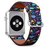 Compatible with Small Apple Watch 38mm & 40mm Leather Watch Wrist Band Strap Bracelet with Stainless Steel Clasp and Adapters (Dinosaurs Cute Kids Girls)