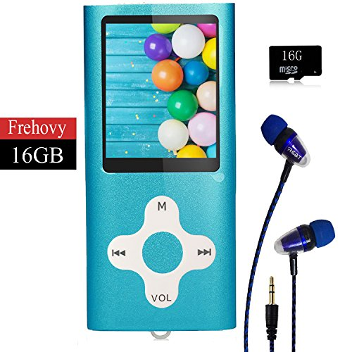 Mp3 Mp4 Charger - MP3 Player/Music Player,Frehovy 16GB TF Card Portable Digital Music Player/Video/Voice record/FM Radio/E-Book Reader,Ultra Slim 1.8''Screen with HiFi Earbuds
