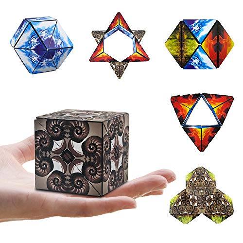 (Magic Star Cube,SHONCO Infinity Cube Stacking Transforming Geometric Puzzle Building Blocks Cube 3D Assembly Fidget Stress Anxiety Relief Educational Toys for Kids and Adults)