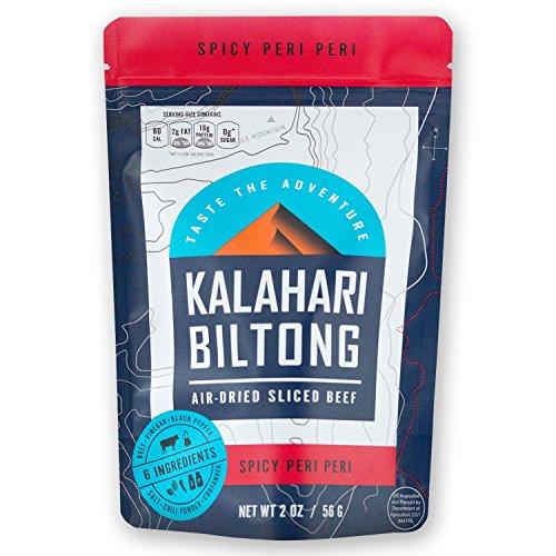 Kalahari Biltong | Air-Dried Thinly Sliced Aged Beef | Zero Sugar | Gluten-Free & non-GMO | Better than Jerky | Spicy Peri Peri | 2oz (Pack of 1)