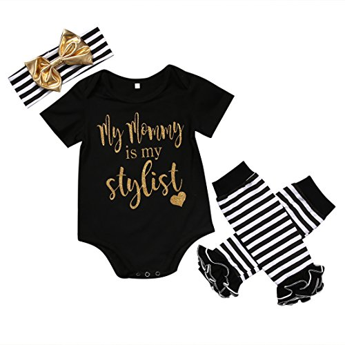 CANIS Baby Girls Mommy is My Stylist Bodysuit Striped Leg Warmers Outfit with Headband (80(6-12M), Black) (Striped Gold Black Headband)