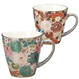 Kutani pottery pair mugs flower packed (japan import)