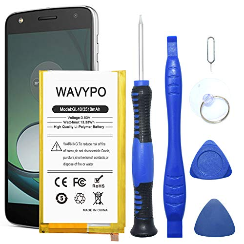 GL40 Replacement Battery, Wavypo 3510mAh (Upgraded) Li-Polymer Built-in SNN5974A Compatible for Motorola Moto Z Play Droid XT1635 with Repair Toolkit