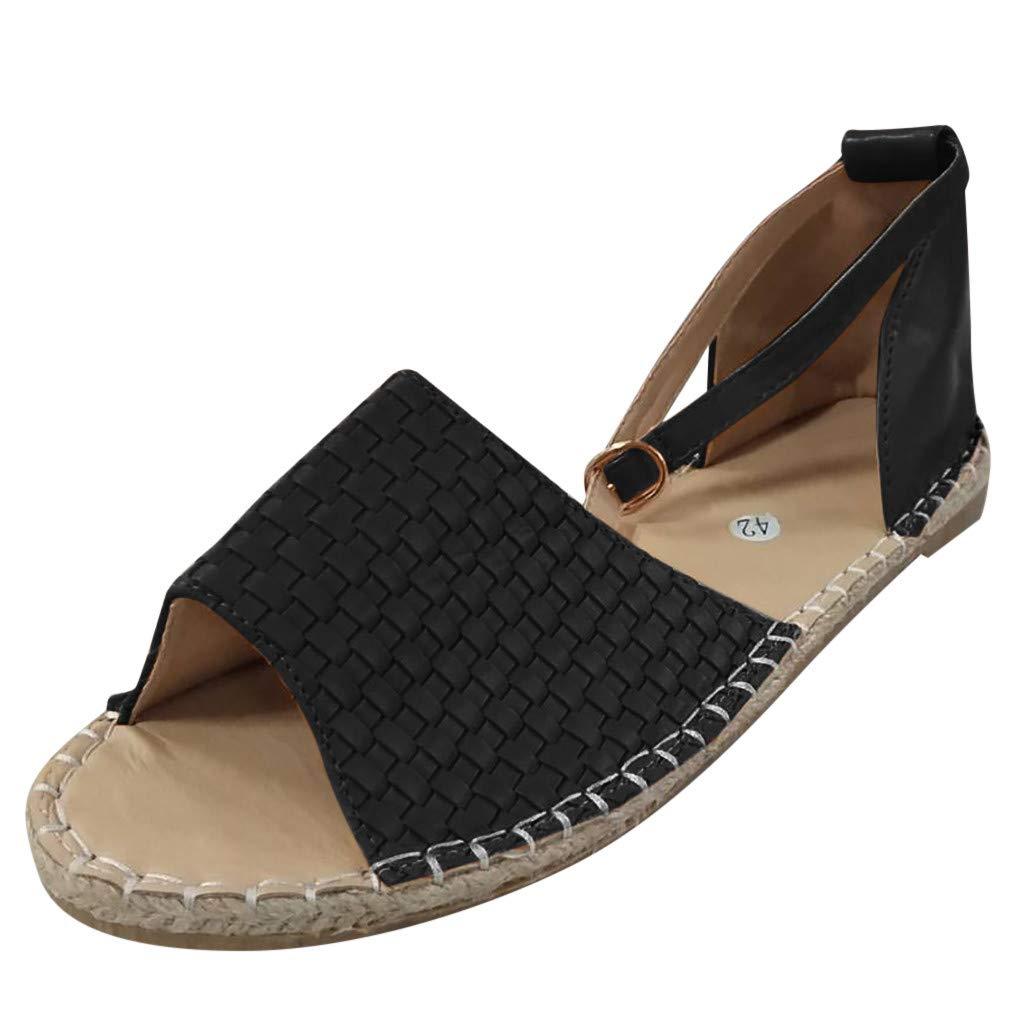 Fastbot Women's Summer Sandals Strap Buckle Low-Heeled Straw Roman Flats Black