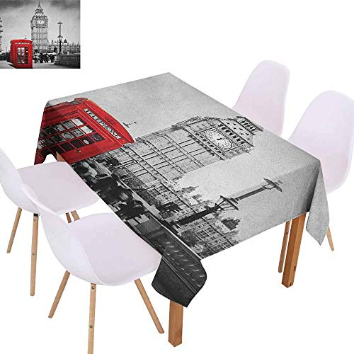 Marilec Rectangular Tablecloth London Famous Telephone Booth and The Big Ben in England Street View Symbols of Town Retro Easy to Clean W70 xL84 Red Grey