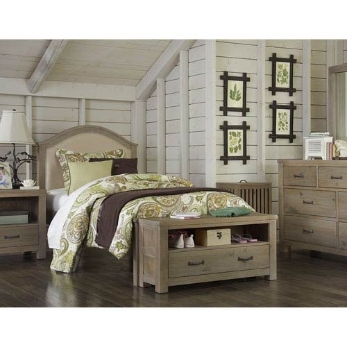 NE Kids Highlands Bailey Twin Upholstered Bed in Driftwood 1767573