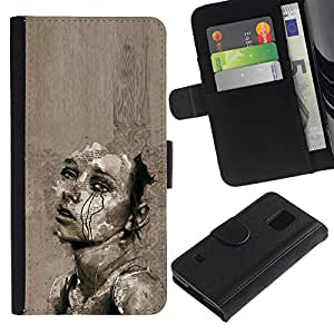 Be Good Phone Accessory // Caso del tirón Billetera de Cuero Titular de la tarjeta Carcasa Funda de Protección para Samsung Galaxy S5 V SM-G900 // Sad Grey Cry Heartbreak Art Sketch