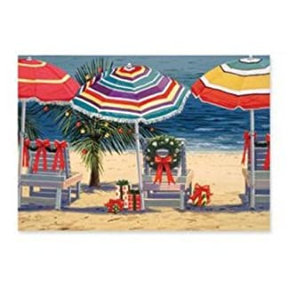 beach chairs and umbrellas with palm christmas cards 16 - Beach Christmas Cards