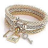 Hmlai Charm Bracelet, 3pcs Charm Women Bracelet Gold Silver Rose Gold Rhinestone Bangle Jewelry Set (I)