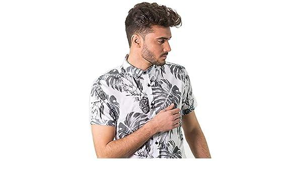 DIVARO - Camisa Estampado PIÑAS Manga Corta Color Blanco - para Hombre: Amazon.es: Ropa y accesorios