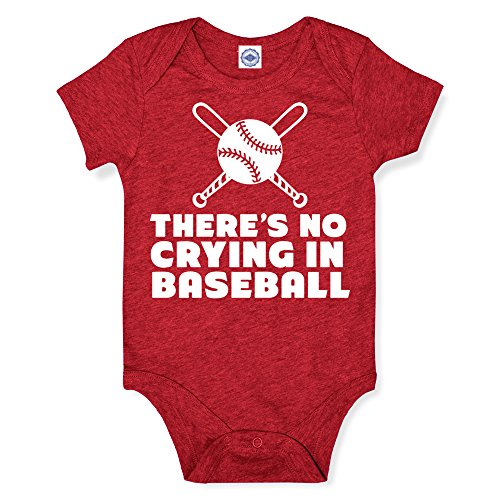 Hank Player U.S.A. 'No Crying In Baseball' Baby Onesie (12M, Heather Red)