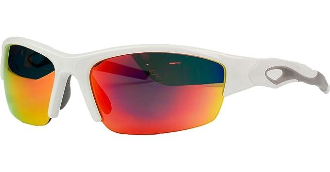 ef8fadad65b2 Amazon.com: Rawlings 32 Mirrored Sunglasses White Red: Clothing