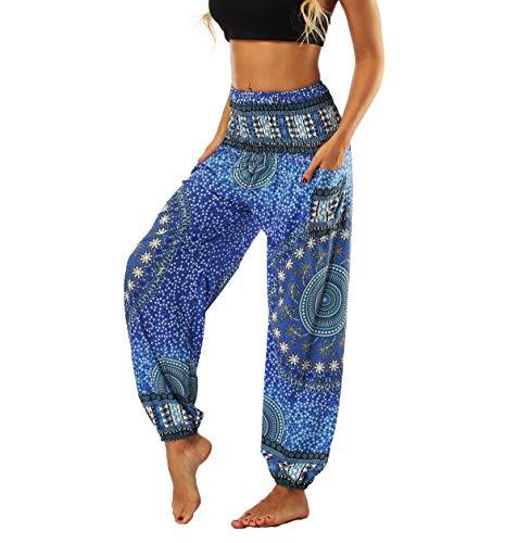 Fancy Uyee Women's Boho Pants Smock Waist Yoga Harem Pants Jogger Hippie Pants with Pockets (Blue Mandala 007, M) ()