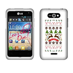 Fincibo (TM) Protector Cover Case Snap On Hard Plastic Front And Back For LG Motion 4G MS770 Regard LW770 - Christmas