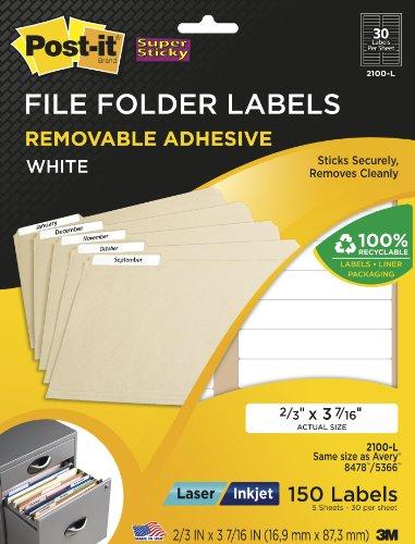 Filing Label Template (Post-it Filing Labels, 2/3 x 3 7/16 Inches, 30 per Sheet, Five Sheets per Pack (2100-L))