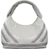 Blue Elegance Studded Handle Hobo Handbag (White)