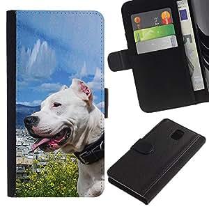 iKiki Tech / Cartera Funda Carcasa - Sunny Dog Sea Ocean Pit-Bull Terrier Pet - Samsung Galaxy Note 3 III N9000 N9002 N9005