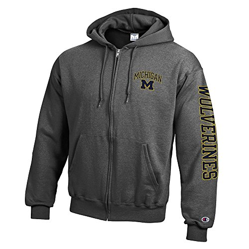 Elite Fan Shop Michigan Wolverines Full Zip Hoodie Sweatshirt Letterman Charcoal - L