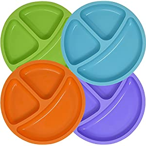 Set of 4 Divided Toddler Plates Set for Baby Plate, Passes Pinch Test, Kids, Children, BPA Free Silicone for Feeding by Salbree (7.5 inches Round, Green, Light Blue, Orange, Purple) 51 2BCe21CHZL