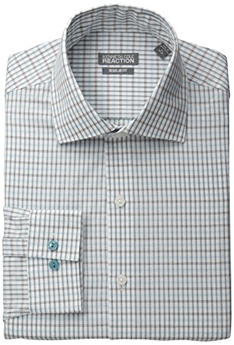 Kenneth Cole Reaction Men's Regular Fit Check, Lagoon, 17.5 36/37