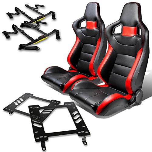 Third Gen Firebird (Pontiac Firebird 3rd Gen Pair of Tuner Series Black Red Trim Racing Seats+Seat Bracket+4-Point Black Belt)