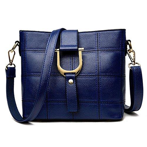 NVBAO Sacchetto di spalla di cuoio dell'unità di elaborazione di modo della borsa della signora Sacchetto di spalla della traversa diagonale del lavoro, blue blue