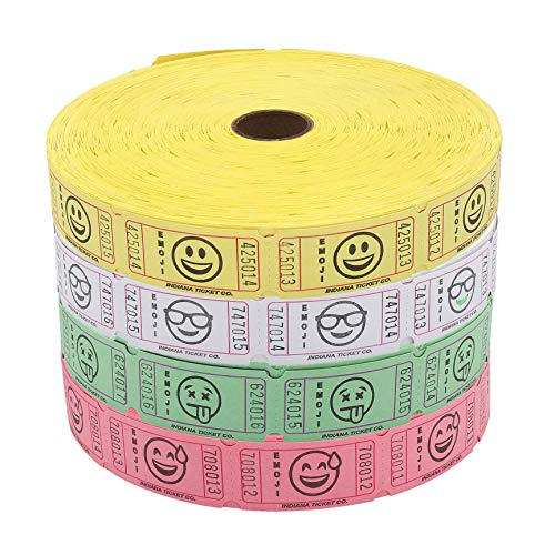 Indiana Raffle Ticket 4 Rolls of 2,000 Each Consecutively Numbered Tickets, Light Assorted Emoji Hanging Tongue, Sunglass, Smiling, Tear Drop Smile by Indiana Ticket Company Yellow White Green ()