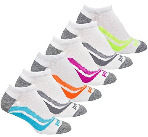 算術常習的お香Prince Womens No Show Performance Socks for Running Tennis and Casual Use (Pack of 6) - White [並行輸入品]