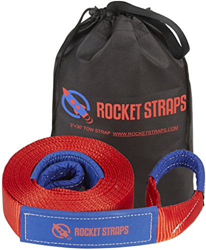 Buy Rocket Straps - 3 x 30' Extreme Heavy Duty Tow Strap - 30,000 lbs (15 US TON) Rated Capacity Ve...