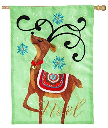 Evergreen Noel's Reindeer Burlap House Flag, 28 x 44 inches