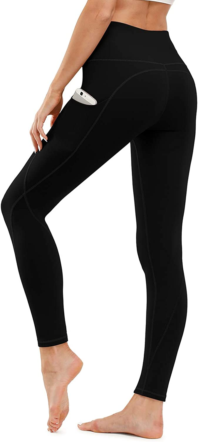 TUNGLUNG High Waist Yoga Pants, Yoga Pants with Pockets Tummy Control Workout Pants 4 Way Stretch Pocket Leggings