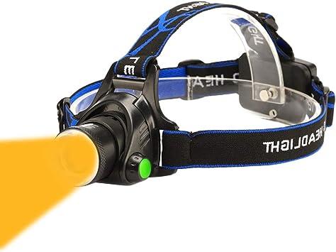 Ultra-bright 3 Mode Warm Yellow Light LED Headlamp with AAA Bateries Waterproof 1600K Amber Led Headlight Hands-Free Headlamps