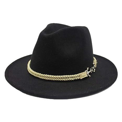 f76bc24ae Amazon.com : Retro Women Fedora Hat Wool Felt Braided Rope Pirate ...