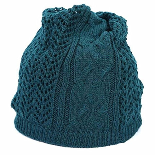 - Bufanda Thickness Knitted Collar Hat, Ikevan Men and Women Autumn and Winter Pure Color Wool Knit Collar Hollow Single Changeable Hedging Scarf (Green)