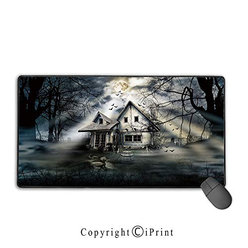 Extended Gaming Mouse pad with Stitched Edges,Halloween,Haunted House with Dark Horror Atmosphere Cloudy Mysterious Frightening,Grey White Black,Premium Textured Fabric, Non-Slip Rubber Base,9.8