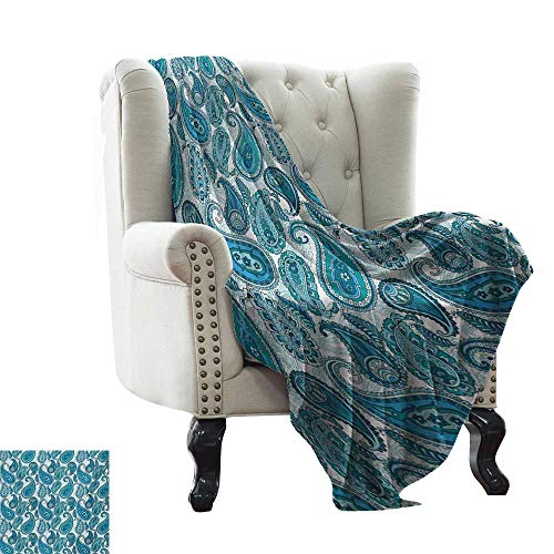WinfreyDecor Soft Blanket Yankee Candle Navy,Plaques in Blue Tones with Border Lines with Sketchy Details Print Image,Dark Blue and Pale Blue 90