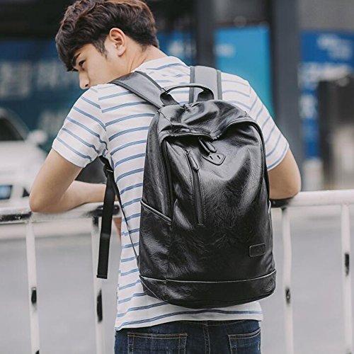 MUMA Daypacks Männer Rucksack Rucksack Studententasche Computer Tasche Reisetasche ( Farbe : Brown-1 ) Schwarz-1