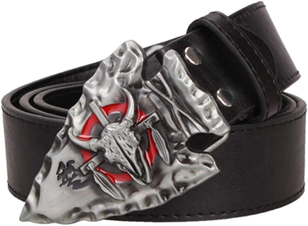 Mens Leather Belt Punk Rock Wild Belt Buckle Hip Hop Belt Men Gift