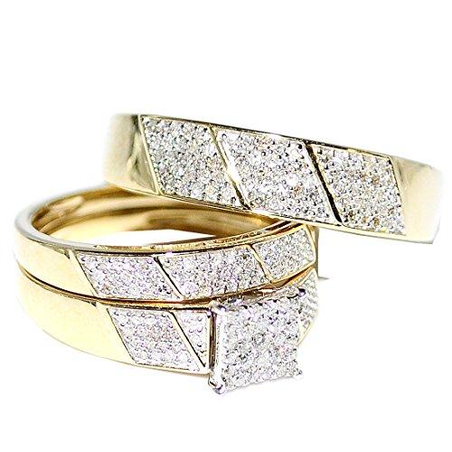 amazoncom his her wedding rings set trio men women 10k yellow gold jewelry - Wedding Rings Amazon