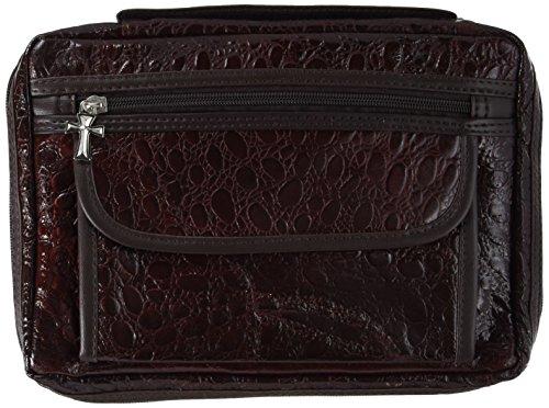 Embassy Alligator Embossed Burgundy Genuine Leather Bible Cover