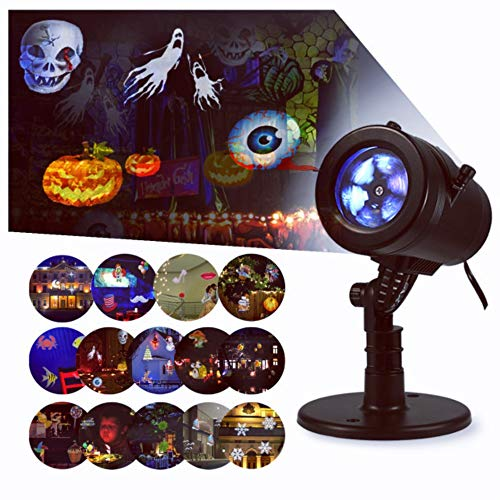 Bjour Halloween Christmas Light Projector Outdoor Indoor Decorations Waterproof with 14 Rotating Slides and 4 Speed Modes,9W, UL Listed, YG-FL02 -