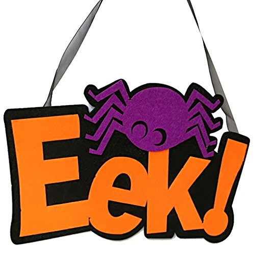 Chilie Halloween EEK Letter Pattern Spider Decoration Spooky Ornament Party Club House Office Hanger Hanging Sign Plate