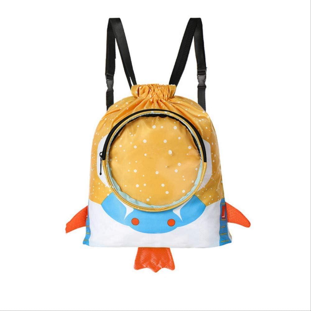 SQWKMochila Impermeable para niños Bolsa de Playa Deportiva Niños Niñas Mochila de natación Bolsas de natación para astronautas Piscina Seca y húmeda 38x35x8 cm Amarillo
